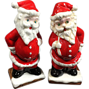 SALE Christmas Santa Salt & Pepper Shakers w Rhinestone Eyes