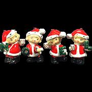 SOLD Vintage Ceramic Pixie NOEL Santa Boys Ornaments