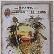 Great Wishbone Thanksgiving Postcard CLAPSADDLE