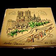 Hand Painted Notre-Dame de Paris Powder Compact ~ Artist Signed ~ Marvelous!