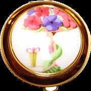 """Estee Lauder Enamel """"Flower Show"""" Powder Compact ~ What a Lady & What a Hat!"""