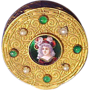 Vintage Brass Bejeweled Hand Painted Portrait Powder Compact ~ Made in France ~ Breathtaking!