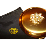 Original by Robert Golden Jeweled Powder Compact with Original By Robert Protective Sleeve ~ .