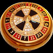 SOLD Estee Lauder Crystal, Seed Pearls & Enamel Roulette Wheel Powder Compact ~ Las Vegas Excl
