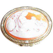 "Estee Lauder ""Mother & Child Cameo"" Solid Perfume Compact ~ Delightful!"