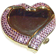 """Estee Lauder """"With All My Heart"""" Pink Crystal Powder Compact"""