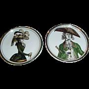 Estee Lauder Porcelain & 24kt Gold Trimmed Portrait Miniature Plates ~ Aramis ~ Germany ~ An .