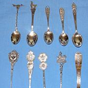 SALE Set of 10 vintage sterling silver souvenir spoons