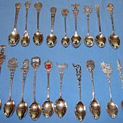 SALE 19 various antique & vintage Continental 800 & 900 (old sterling) silver souvenir spoons