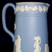 Antique Wedgwood ceramic light blue Jasperware pitcher / jug
