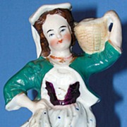 SALE Antique Staffordshire Pottery figurine - Woman Carrying a Basket