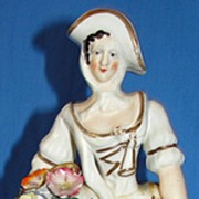 SALE Antique Staffordshire pottery figurine -  Woman with Flowers - As Is