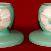 SALE A Vintage Pair of Weller Pottery Candle Holders