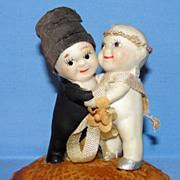 SALE All Bisque Old Kewpie Huggers Bride & Groom Cake Topper