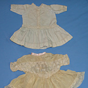 SALE Two Antique Doll Dresses for Bisque Dolls