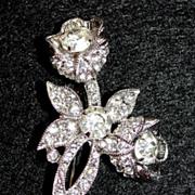SALE Classy Vintage Eisenberg Rhinestone Flower Brooch / Pin