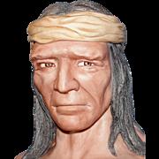 "SALE Vintage ""Apache"" Indian bust by Artist Edward J. Rohn - Incredible Porcelain Sc"