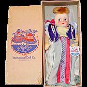 "SALE All Original 13"" Mollye International Series ""Rumania"" Cloth Doll in Origi"
