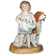 SALE Antique Bisque Figurine: Little Girl & Her Pets ca 1880 - Big and Adorable!