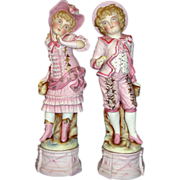 SALE Amazing Extra Large All Bisque Figurine Pair - Courting Couple