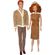 SALE 1960's Allan And Midge Dolls with Wardrobe