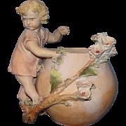 SALE Rare and Unique! Antique European Terracotta Child figure by flower pot: probably Austria