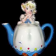 SALE Adorable Vintage 1960's Lefton Dutch Girl Teapot - Beautiful!