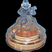 Art Deco Vanity Glass Powder Jar: ca 1930's Minstrel, E.L. Smith Glass Company