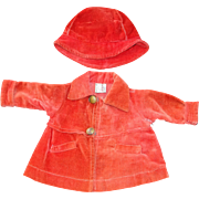 """SALE All Original 1930's Tagged  Coat & Hat for 18"""" Composition Shirley Temple Doll"""