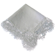 SOLD Vintage Wedding Hankie Hanky with Hand Made Lace Border