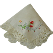 SOLD Vintage Wedding Hankie Hanky with Rose Embroidery