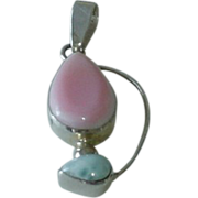 Modernist Sterling Blue and Pink Pendant