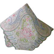 SOLD Wedding Hanky Hankie Embroidered All Over