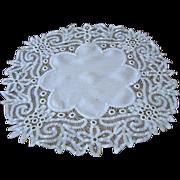 SOLD Vintage Fine Linen Doily with Wide Battenberg Battenburg Lace Edge