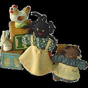 Vintage Pair Hand Made Black Miniature Dolls c1930-1940