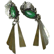 Vintage Sterling Silver and Malachite Dangle Earrings