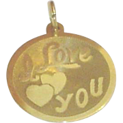 Vintage 14K Gold I Love You Charm