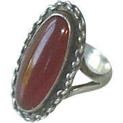 Vintage Sterling Silver Carnelian Red Stone Ring