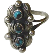 Vintage Sterling Silver Zuni Petit-Point Turquoise Ring