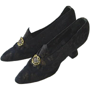 Antique Edwardian Flapper Silk Brocade Black Evening Shoes 1919
