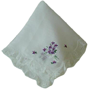 SOLD Vintage French Batiste Lawn Hanky Hankie with French Lace Trim and Embroidered Violets MI