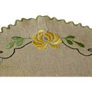 SOLD Vintage Linen Arts and Crafts Doily with Silk Embroidery