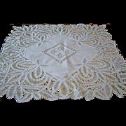 Vintage Hand Made Battenburg Battenberg Lace Tablecloth