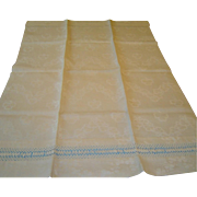 Vintage Linen Damask Huck Bath Towel with Hand Done Coronation Cord