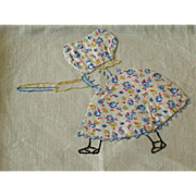 Vintage Linen Tea Towel with Hand Made Sun Bonnet Baby