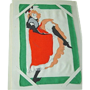 Rare Moulin Rouge Vintage Set of Leacock Fine Irish Linen Cocktail Napkins 1952