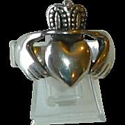 Vintage Sterling Silver Irish Fede Claddagh Heavy Man's Ring