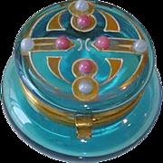 Art Deco Turquoise Blue Vanity Dresser Jar Patch Box