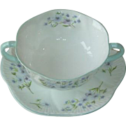 Shelley Blue Rock Dainty Shape Cream Soup & Saucer