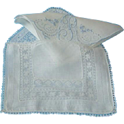 Fine Estate Bridal Hand Made Net Lace and Batiste Handkerchief Hanky Case Holder